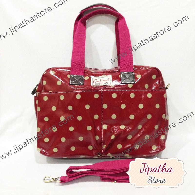 กระเป๋า Chalita wu + สะพาย ใบใหญ่ สีเลือดหมู ลายจุด