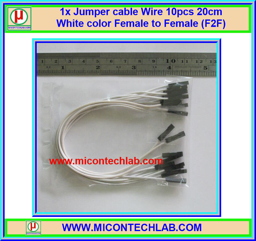 1x Jumper (F2F) cable Wire 10pcs 20cm White color Female to Female