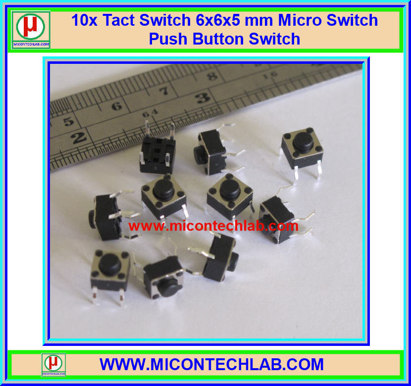 10x Tact Switch 6x6x5 mm Micro Switch Push Button Switch