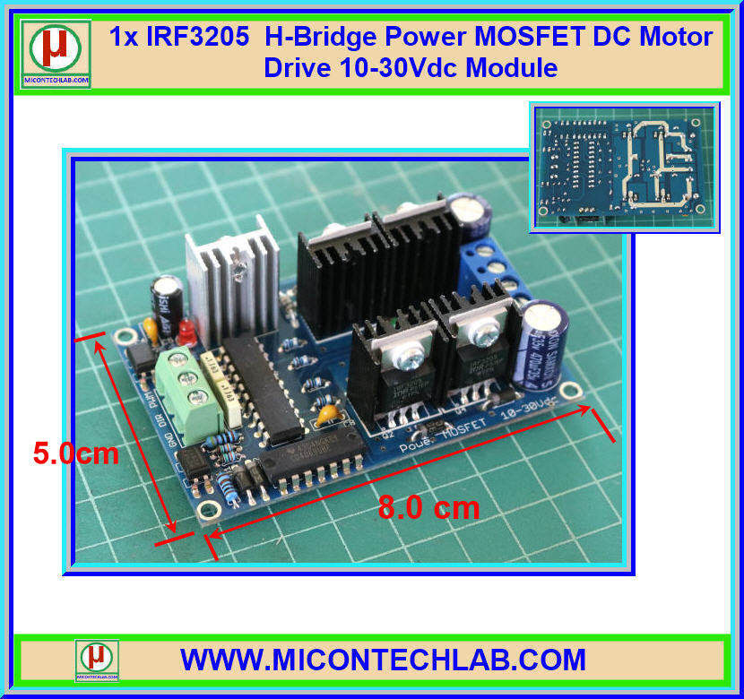 1x IRF3205 H-Bridge Power MOSFET DC Motor Drive 10-30Vdc Module