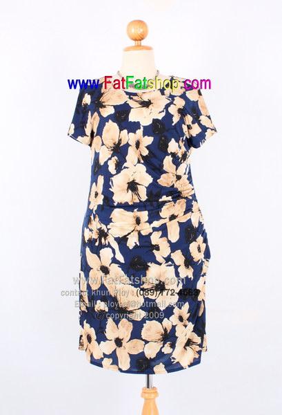 f029-45-50-เดรสไซส์XXL ผ้าเกาหลีสีน้ำเงินพิมพ์ลายดอกซับในทั้งตัว จับจีบด้านข้าง สวยน่ารักสุดๆเลยค่ะ รอบ อก 40 - 48 นิ้ว