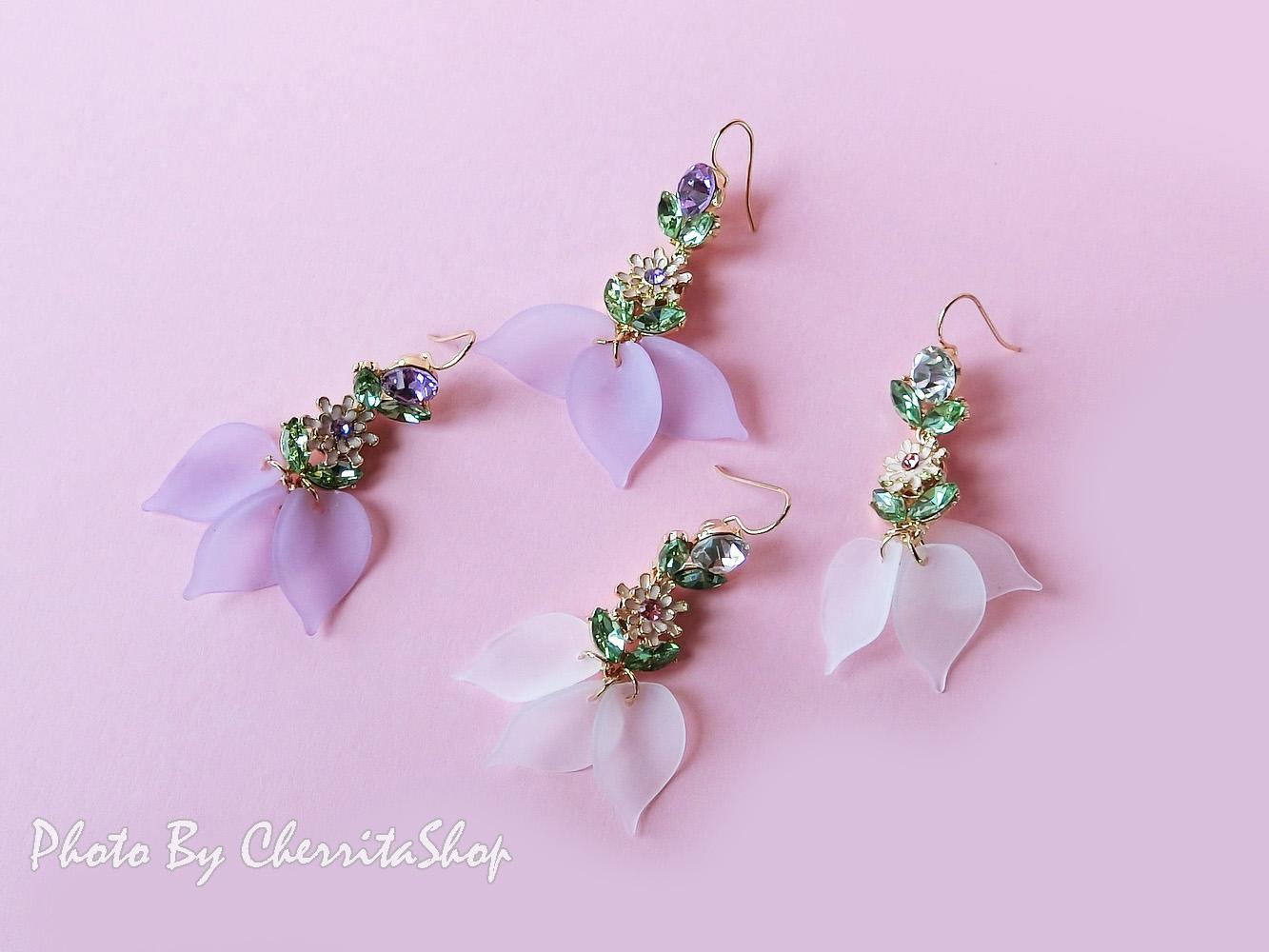 เลือกสีด้านในค่ะ ต่างหูเกาหลี ต่างหู Pastel Flower Korea ER63141