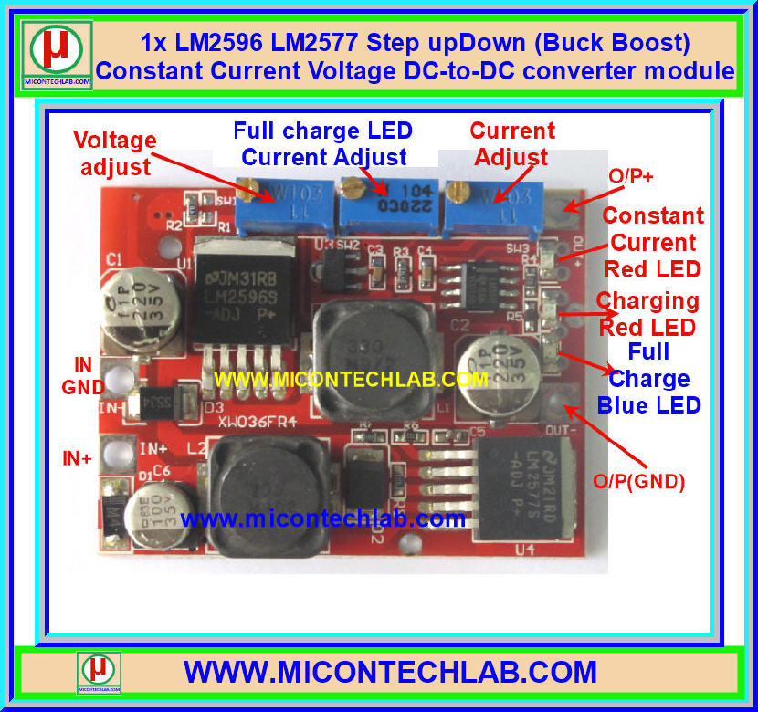 1x LM2596 LM2577 Step upDown (Buck Boost) Constant Current CC Constant Voltage CV DC-to-DC converter module