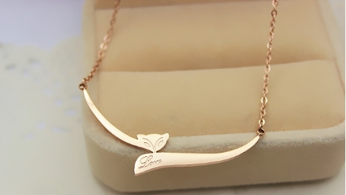jewelry fox rose gold necklace female, Korean fashion