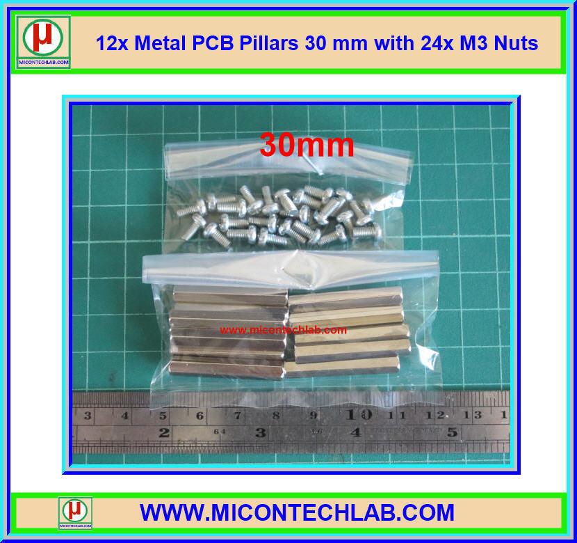 12x เสารองแบบเหลี่ยม 30 มม. 24x สกรู M3 (Pillars 30 mm)