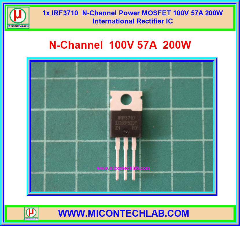 1x IRF3710 N-Channel 100V 57A 200W Power MOSFET IR IC