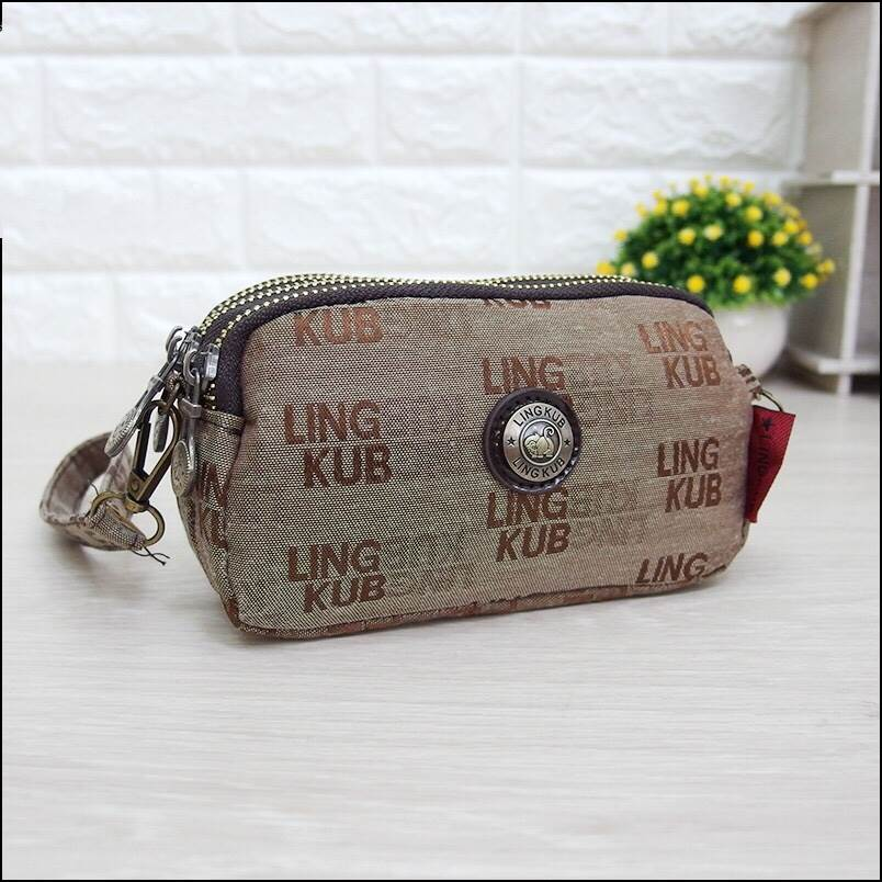 กระเป๋าคล้องมือ Lingky ผ้าทอ สีน้ำตาล