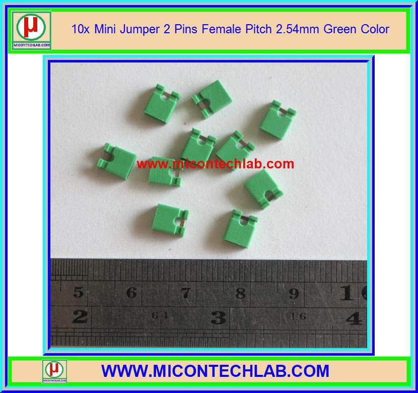 10x Mini Jumper 2 Pins Female Pitch 2.54mm Green Color