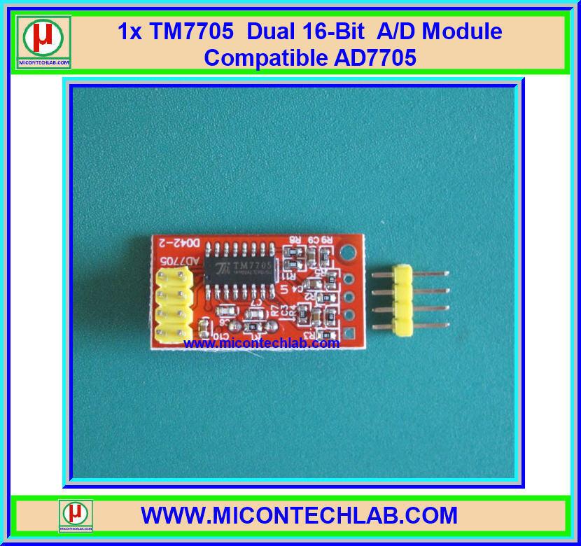 1x TM7705 Dual 16-bit A/D module Compatible AD7705 SPI Interface