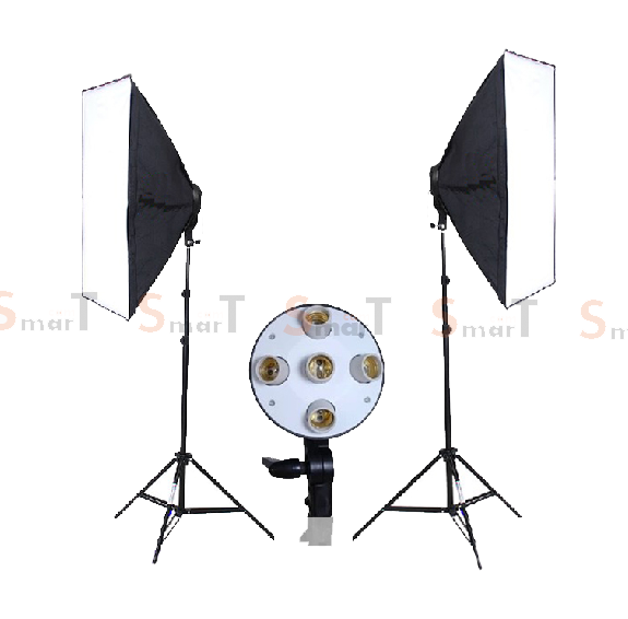5 Holder Light Set with 2 Set Day light Lamp E27 Bulb With Softbox 60x90cm