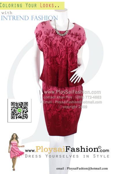 hd1843 - เกาหลีแขนสามส่วนพิมพ์ลายโทนแดง เสื้อเอวลอยในตัวติดกับชุด ซับในทั้งตัว สวยเรียบร้อยสุดๆเลยค่ะ