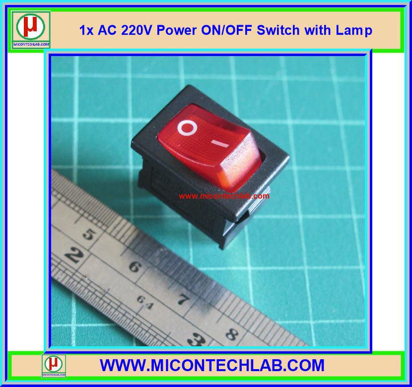 1x สวิตซ์เพาเวอร์ออนออฟ AC 220V พร้อม LED (Power ON/OFF Switch)