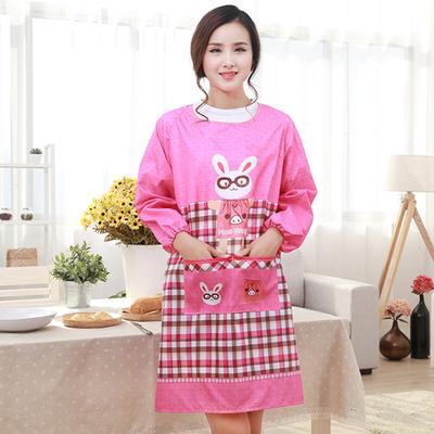 ผ้ากันเปื้อนแขนยาว ลายกระต่ายสีชมพู