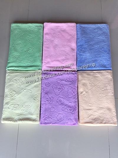ขายส่ง ผ้าเช็ดตัวนาโน สีพื้นอัดลาย-สีหวาน (แบบหนา) ขนาด 70*140 cm ส่ง 60 บาท (90 ผืน)