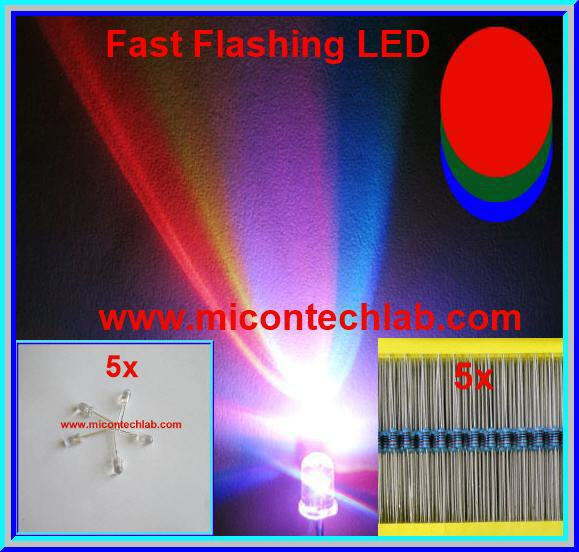 5x RGB Fast Flashing Rainbow LED Super Bright 5mm + 5x Resistor 220 Ohm 1/4W 1%