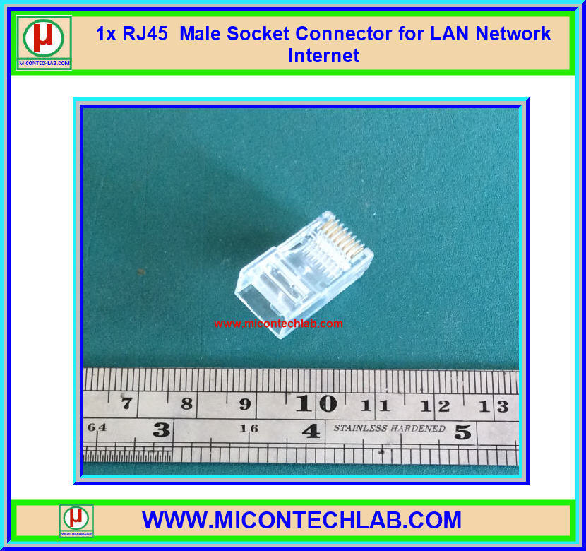 1x RJ45 Male Socket Connector for LAN Network Internet