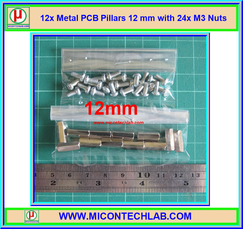12x เสารองแบบเหลี่ยม ยาว 12 มม. พร้อมสกรู (Pillars 12 mm)