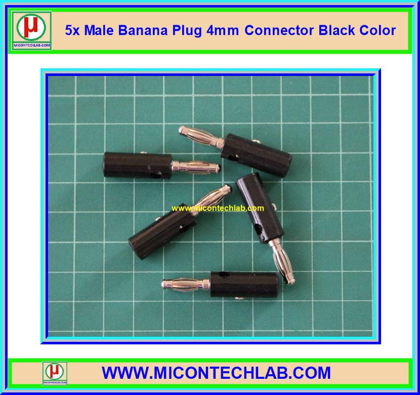5x Male Banana Plug 4mm Connector Black Color