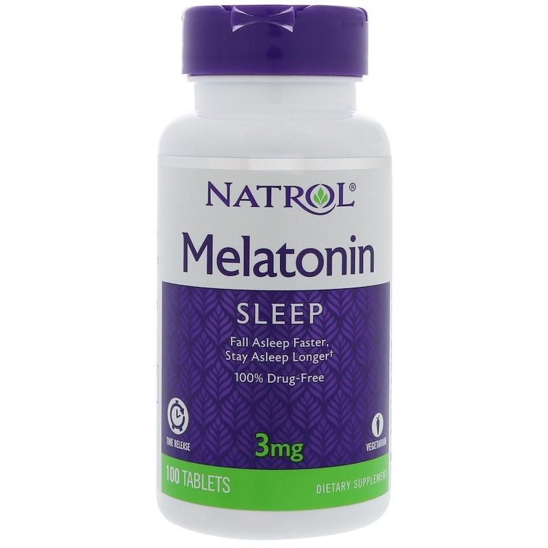 Natrol, Melatonin, Time Release, 3 mg, 100 Tablets