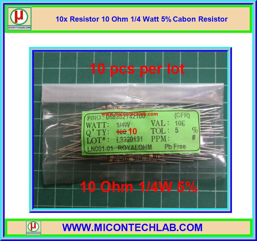 10x Resistor 10 Ohm 1/4 Watt 5% Cabon Resistor