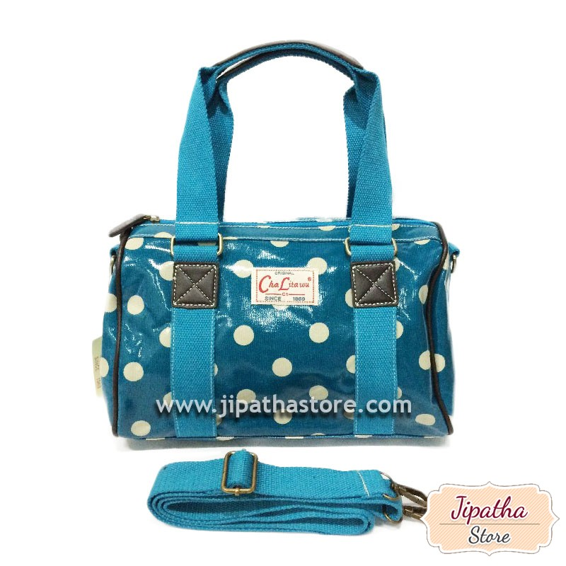 กระเป๋าทรงหมอน Chalita wu + สายสะพาย สีฟ้าอ่อน ลายจุด