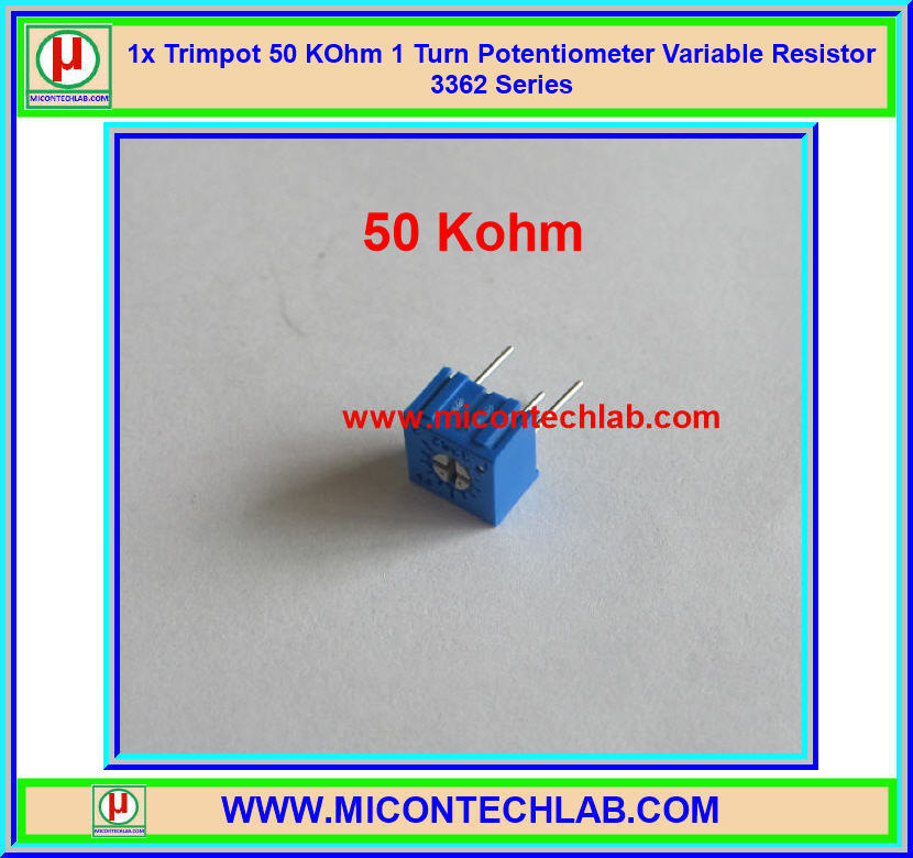 1x Trimpot 50 KOhm 1 Turn Potentiometer Variable Resistor 3362 Series