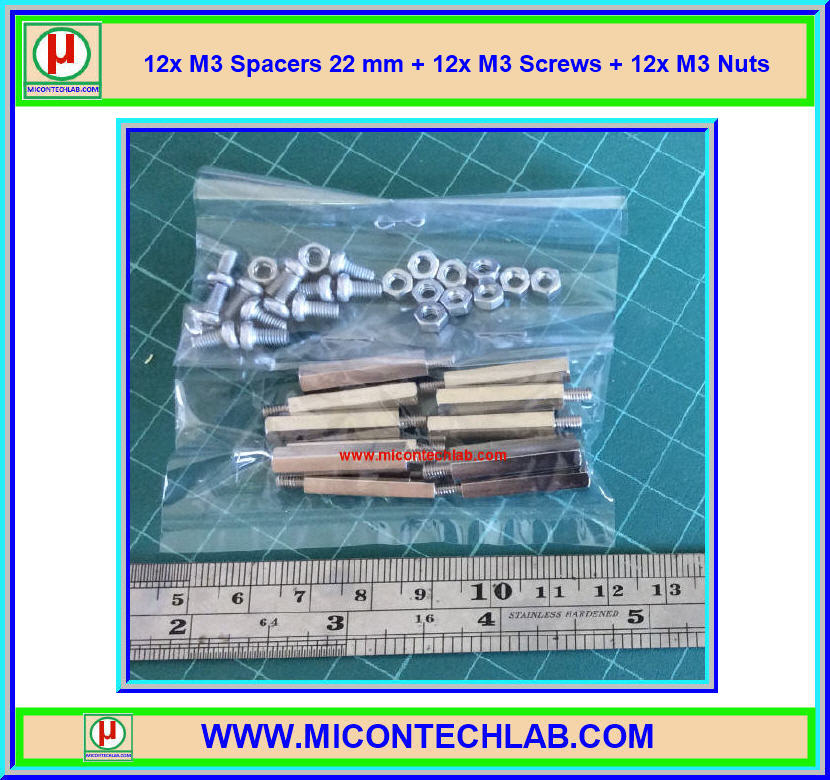 12x M3 Spacers 22 mm + 12x M3 Screws + 12x M3 Nuts (เสารองพีซีบีแบบปลายผู้เมีย 22 มม)