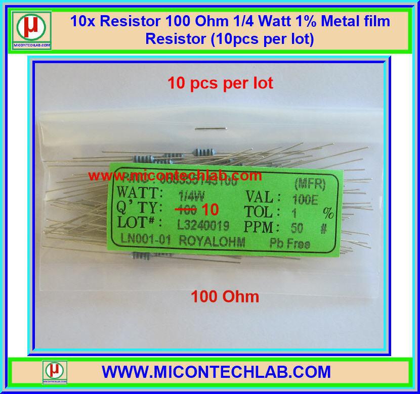 10x Resistor 100 Ohm 1/4 Watt 1% Metal film Resistor (10pcs per lot)