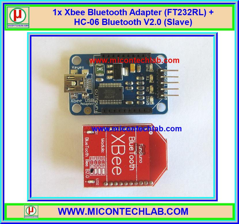 1x Xbee Bluetooth Adapter (FT232RL) + HC-06 Bluetooth V2.0 (Slave)