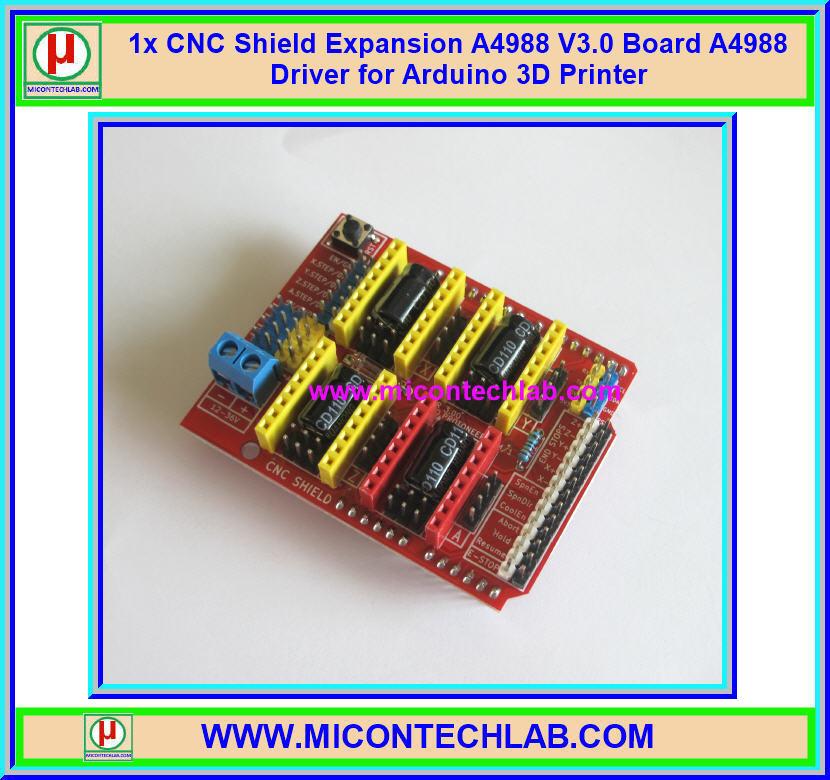 1x CNC Shield Expansion A4988 V3.0 Board A4988 Driver for Arduino 3D Printer
