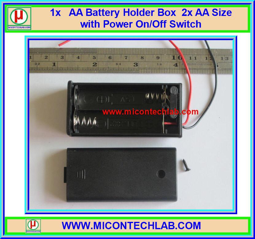 1x AA Battery Holder Box 2x AA Size with Power On/Off Switch (กล่องถ่านแบบมีฝาปิดขนาด 2 ก้อนพร้อมสวิตซ์เปิดปิด)