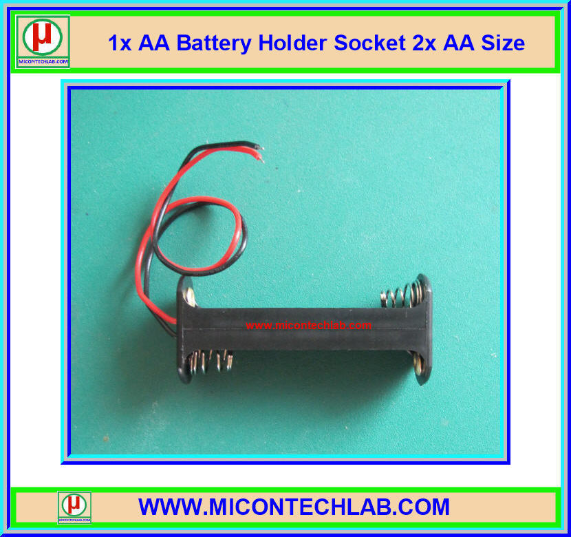 1x AA Battery Holder Socket 2x AA Size (กะบะถ่าน AA ขนาด 2 ก้อนแบบด้านข้าง)