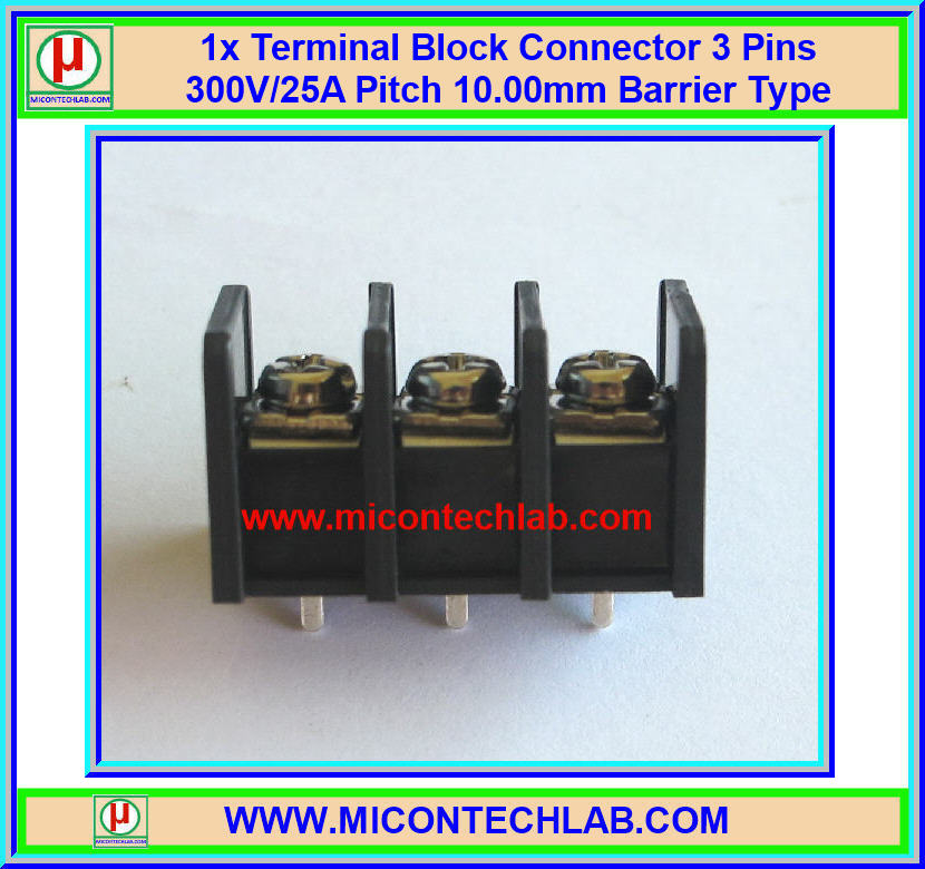 1x Terminal Block Connector 3 Pins 300V/25A Pitch 10.00mm Barrier Type