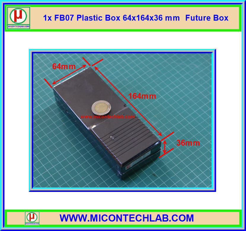 1x กล่อง FB07 สีดำ ขนาด 64x164x36 มม. Future Box