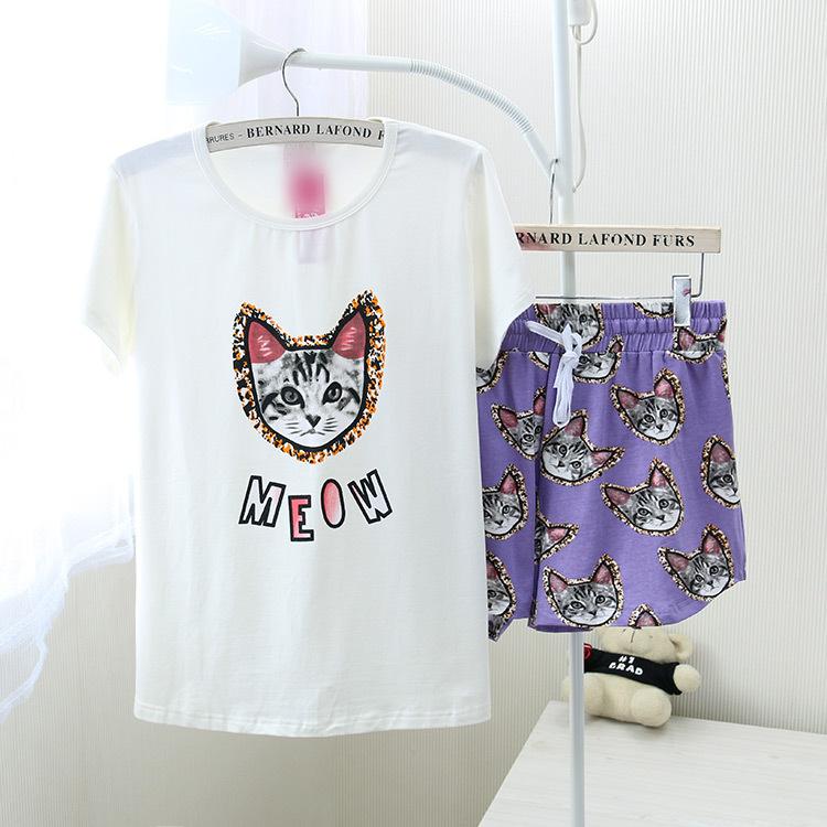 ชุดนอน PINK ลายแมว เซทเสื้อแขนสั้น กางเกงขาสั้น สีขาว-ม่วง