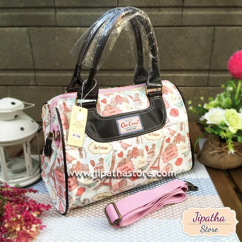 กระเป๋า Chalita wu + สายสะพาย สีขาว ลายหอไอเฟล