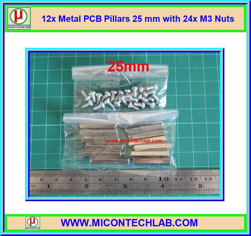 12x เสารองแบบเหลี่ยม 25 มม. 24x สกรู M3 (Pillars 25 mm)