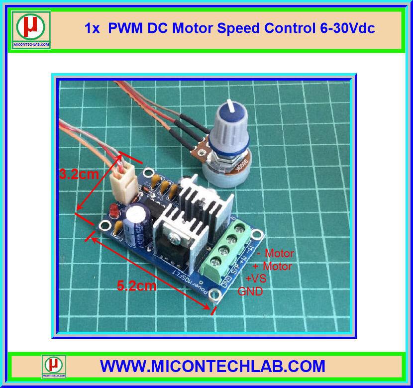 1x IRF3205 PWM Power MOSFET DC Motor Speed Control 6-30Vdc Module (บอร์ดควบคุมความเร็วดีซีมอเตอร์)