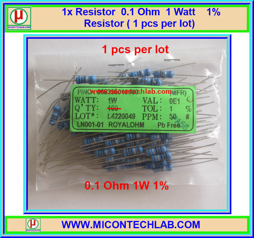 1x Resistor 0.1 Ohm 1 Watt 1% Resistor ( 1 pcs per lot)