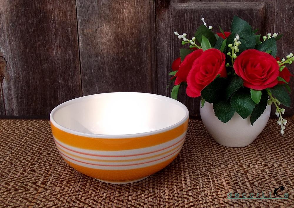 ชามเซรามิคกลมสีส้มริ้วขาว