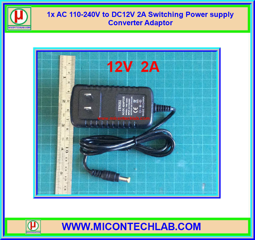 1x AC 110-240V to DC12V 2A Switching Power supply Converter Adaptor