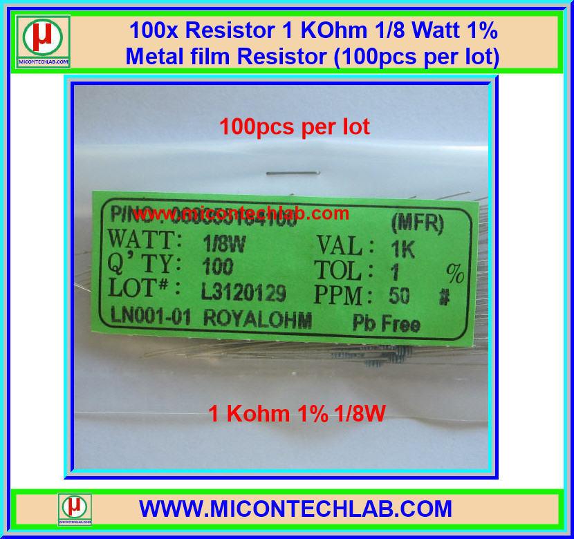 100x Resistor 1 Kohm 1/8 Watt 1% Metal film Resistor (100pcs per lot)
