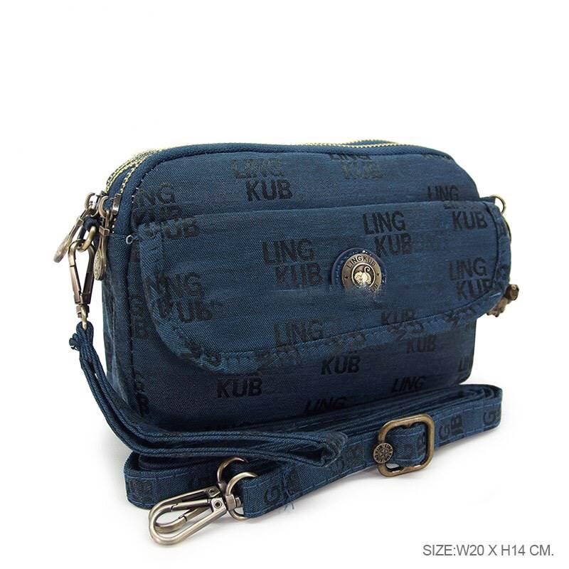 กระเป๋าสะพายยาว + คล้องมือ เนื้อผ้ทอา kipling