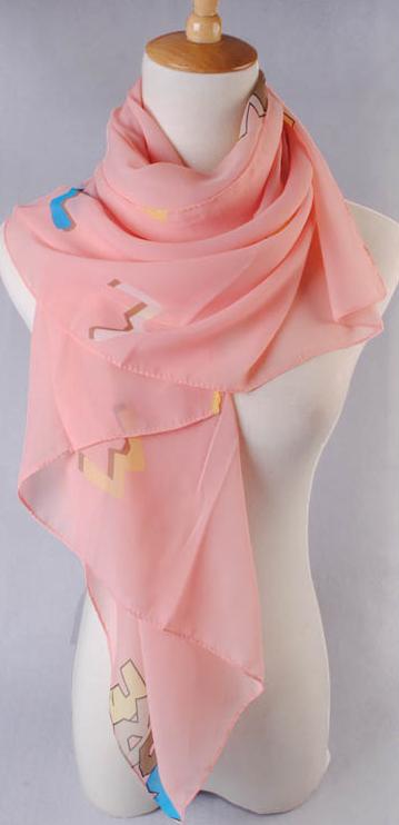 ผ้าพันคอผ้าชีฟอง ลายตัวอักษรสีชมพู ( รหัส P244 )