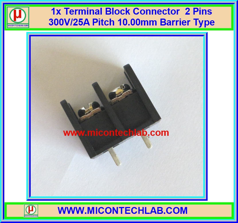 1x Terminal Block Connector 2 Pins 300V/25A Pitch 10.00mm Barrier Type