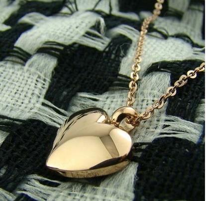 สร้อยคอเหล็กไทเทเนียม จี้หัวใจ 14K
