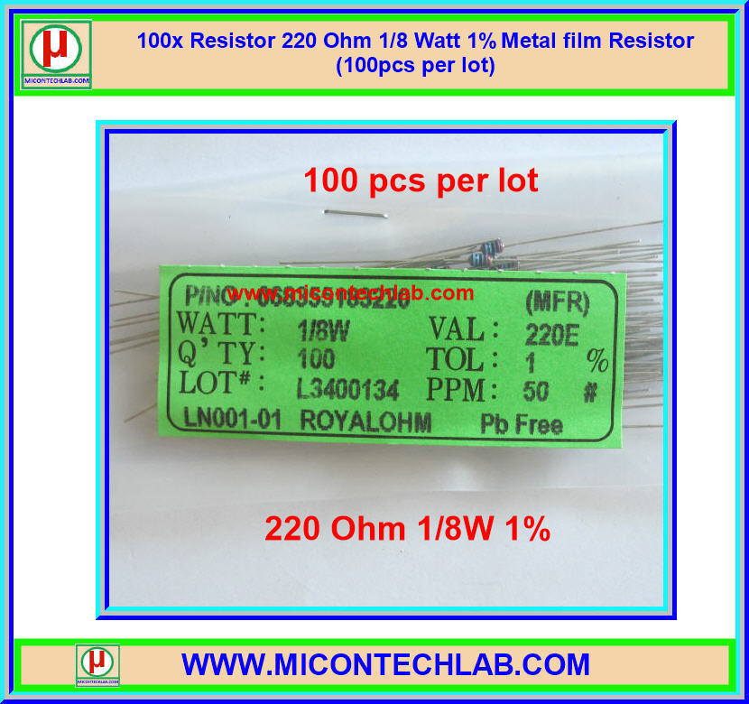 100x Resistor 220 Ohm 1/8 Watt 1% Metal film Resistor (100pcs per lot)