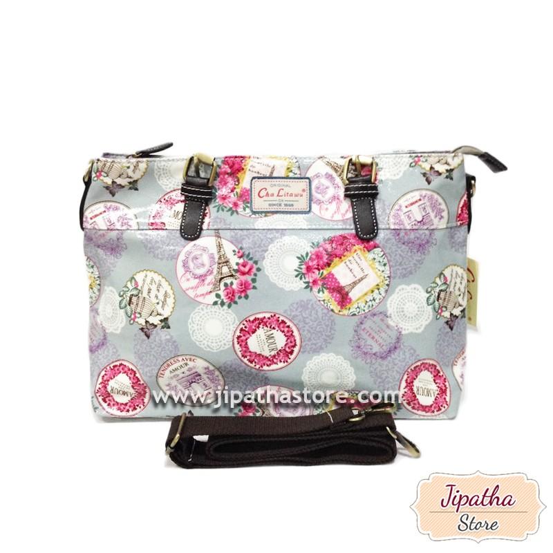 กระเป๋าทรงมน + สายสะพาย สีเทา ลายดอกไม้
