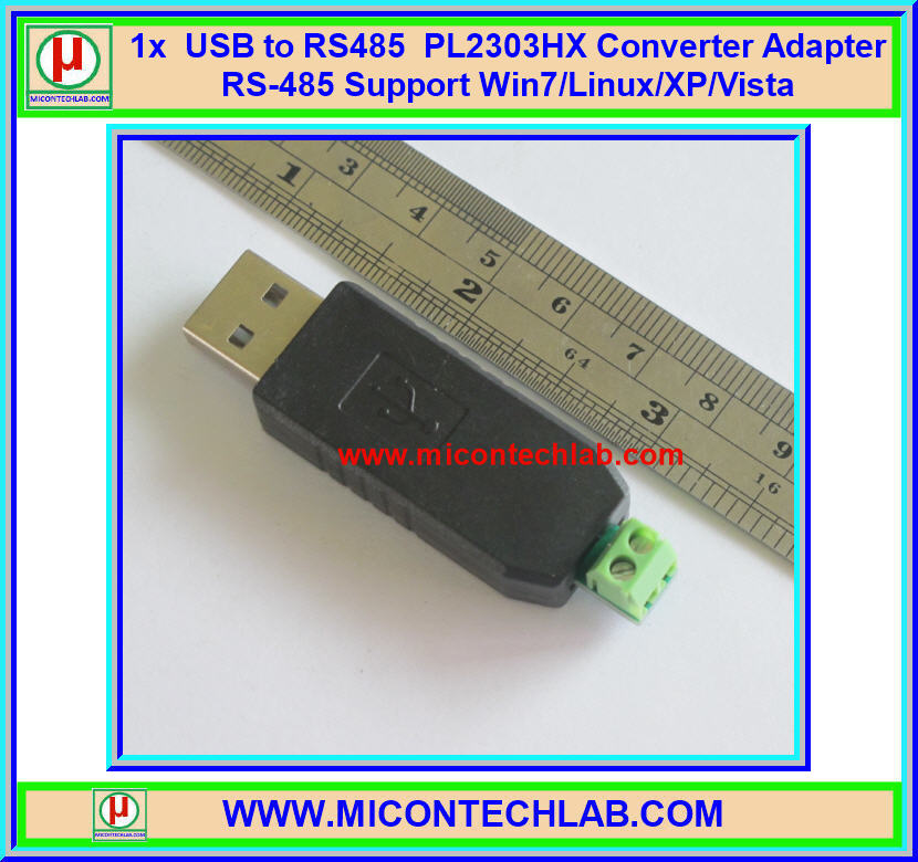 1x USB to RS485 CH340G Converter Adapter RS-485 Support Win7/Linux/XP/Vista