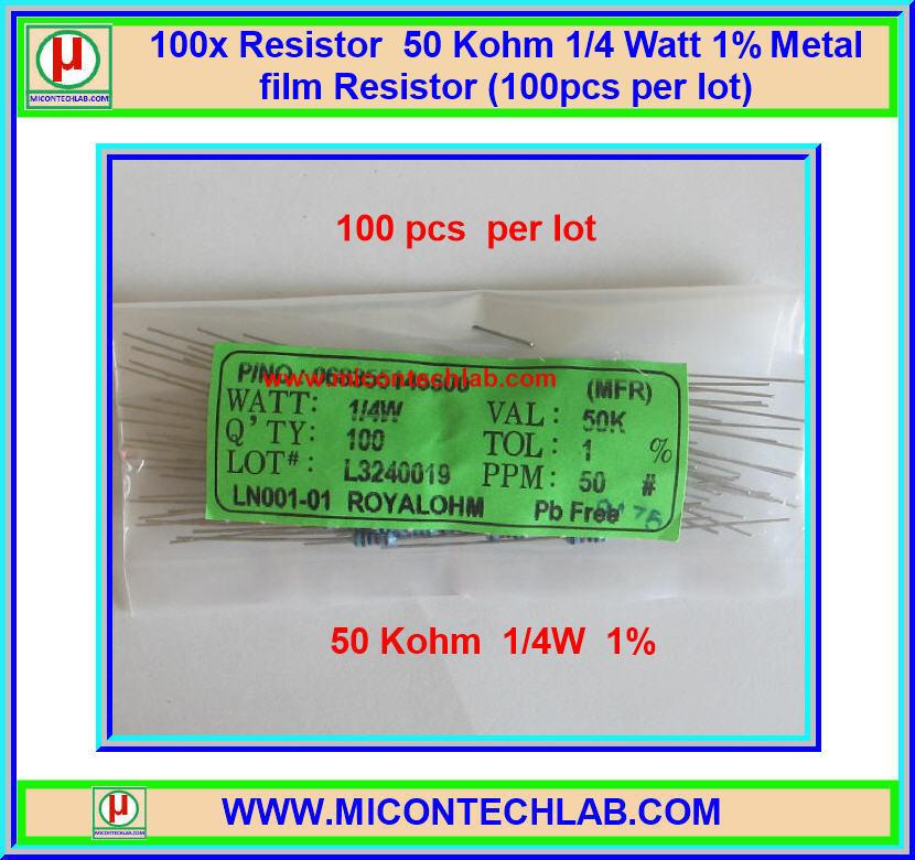100x Resistor 50 Kohm 1/4 Watt 1% Metal film Resistor (100pcs per lot)